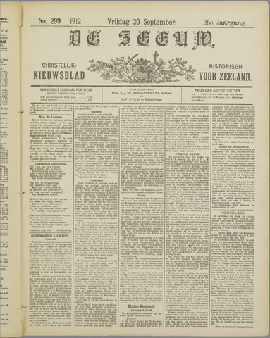 De Zeeuw. Christelijk-historisch nieuwsblad voor Zeeland 1912-09-20