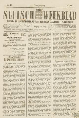 Sluisch Weekblad. Nieuws- en advertentieblad voor Westelijk Zeeuwsch-Vlaanderen 1865-07-14