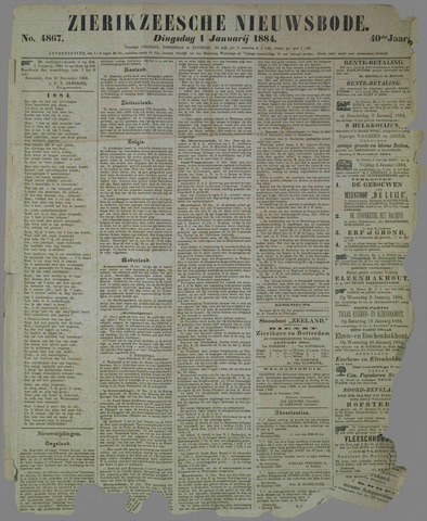Zierikzeesche Nieuwsbode 1884