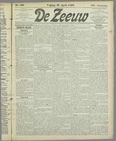 De Zeeuw. Christelijk-historisch nieuwsblad voor Zeeland 1920-04-16