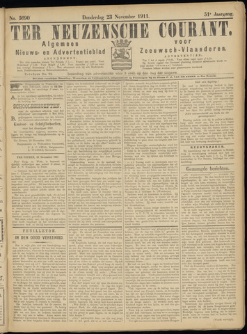 Ter Neuzensche Courant. Algemeen Nieuws- en Advertentieblad voor Zeeuwsch-Vlaanderen / Neuzensche Courant ... (idem) / (Algemeen) nieuws en advertentieblad voor Zeeuwsch-Vlaanderen 1911-11-23