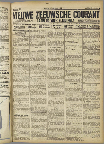 Nieuwe Zeeuwsche Courant 1922-10-27