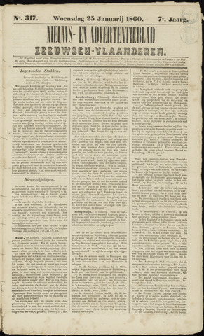 Ter Neuzensche Courant. Algemeen Nieuws- en Advertentieblad voor Zeeuwsch-Vlaanderen / Neuzensche Courant ... (idem) / (Algemeen) nieuws en advertentieblad voor Zeeuwsch-Vlaanderen 1860-01-25