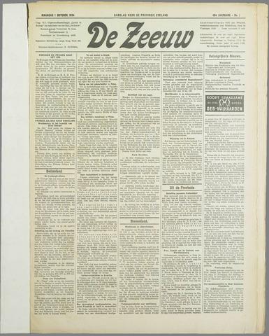De Zeeuw. Christelijk-historisch nieuwsblad voor Zeeland 1934-10-01