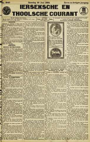 Ierseksche en Thoolsche Courant 1922-06-10