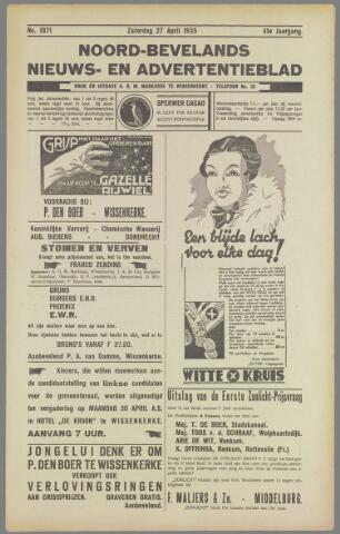 Noord-Bevelands Nieuws- en advertentieblad 1935-04-27