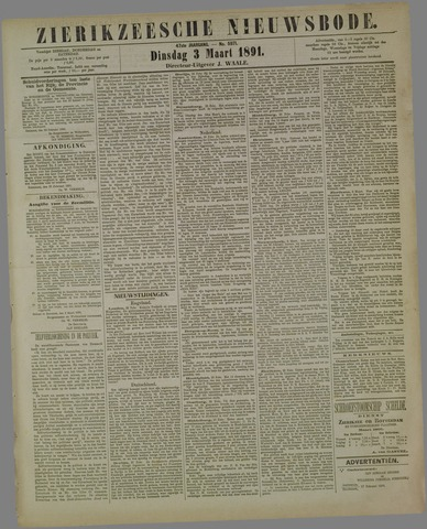Zierikzeesche Nieuwsbode 1891-03-03