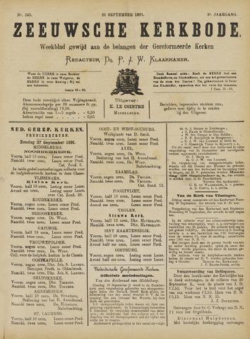 Zeeuwsche kerkbode, weekblad gewijd aan de belangen der gereformeerde kerken/ Zeeuwsch kerkblad 1891-09-26