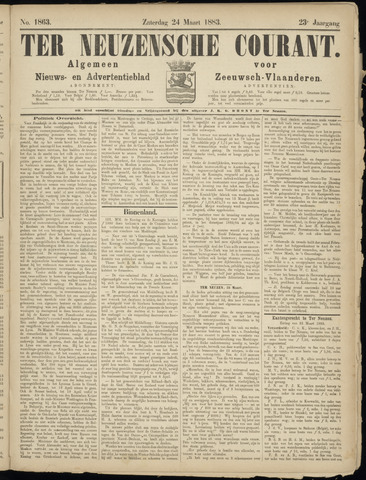 Ter Neuzensche Courant. Algemeen Nieuws- en Advertentieblad voor Zeeuwsch-Vlaanderen / Neuzensche Courant ... (idem) / (Algemeen) nieuws en advertentieblad voor Zeeuwsch-Vlaanderen 1883-03-24