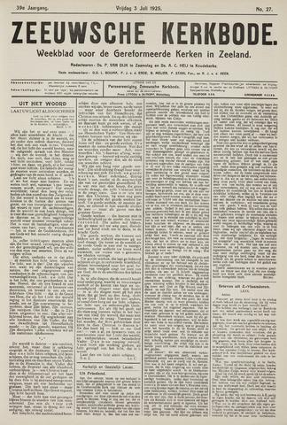Zeeuwsche kerkbode, weekblad gewijd aan de belangen der gereformeerde kerken/ Zeeuwsch kerkblad 1925-07-03