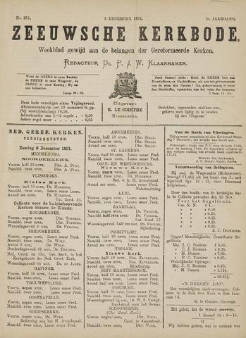 Zeeuwsche kerkbode, weekblad gewijd aan de belangen der gereformeerde kerken/ Zeeuwsch kerkblad 1891-12-05