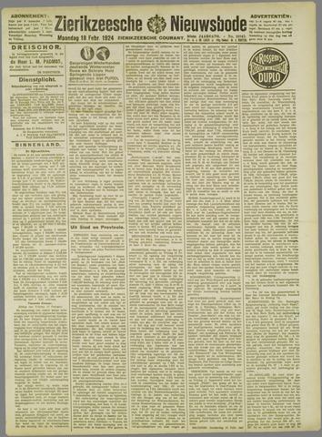 Zierikzeesche Nieuwsbode 1924-02-18