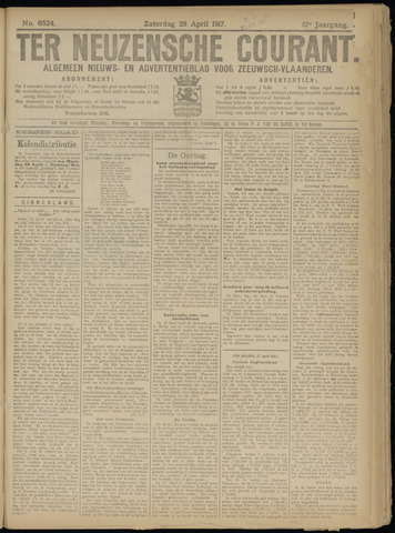 Ter Neuzensche Courant. Algemeen Nieuws- en Advertentieblad voor Zeeuwsch-Vlaanderen / Neuzensche Courant ... (idem) / (Algemeen) nieuws en advertentieblad voor Zeeuwsch-Vlaanderen 1917-04-28