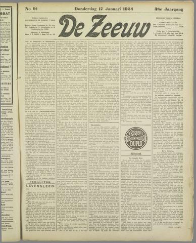 De Zeeuw. Christelijk-historisch nieuwsblad voor Zeeland 1924-01-17