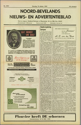 Noord-Bevelands Nieuws- en advertentieblad 1959-10-10