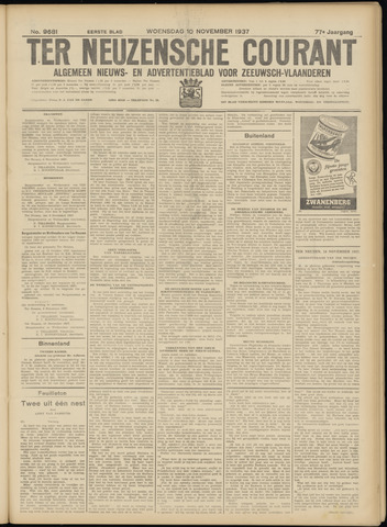 Ter Neuzensche Courant. Algemeen Nieuws- en Advertentieblad voor Zeeuwsch-Vlaanderen / Neuzensche Courant ... (idem) / (Algemeen) nieuws en advertentieblad voor Zeeuwsch-Vlaanderen 1937-11-10