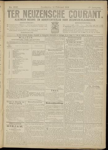 Ter Neuzensche Courant. Algemeen Nieuws- en Advertentieblad voor Zeeuwsch-Vlaanderen / Neuzensche Courant ... (idem) / (Algemeen) nieuws en advertentieblad voor Zeeuwsch-Vlaanderen 1918-02-14