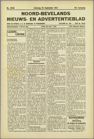 Noord-Bevelands Nieuws- en advertentieblad 1947-09-20
