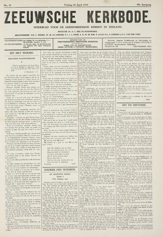 Zeeuwsche kerkbode, weekblad gewijd aan de belangen der gereformeerde kerken/ Zeeuwsch kerkblad 1935-04-26