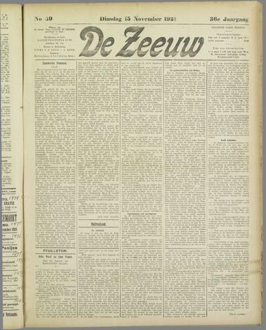 De Zeeuw. Christelijk-historisch nieuwsblad voor Zeeland 1921-11-15