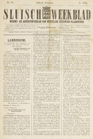 Sluisch Weekblad. Nieuws- en advertentieblad voor Westelijk Zeeuwsch-Vlaanderen 1874-02-27