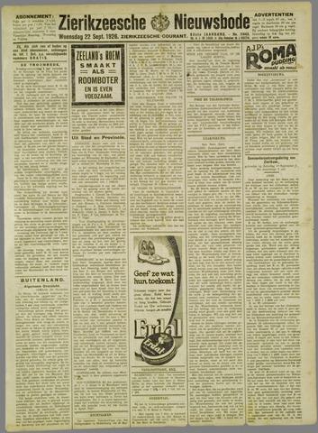 Zierikzeesche Nieuwsbode 1926-09-22