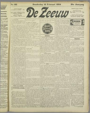 De Zeeuw. Christelijk-historisch nieuwsblad voor Zeeland 1924-02-14