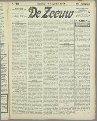 De Zeeuw. Christelijk-historisch nieuwsblad voor Zeeland 1924-08-12