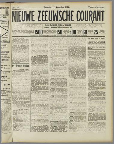 Nieuwe Zeeuwsche Courant 1914-08-17