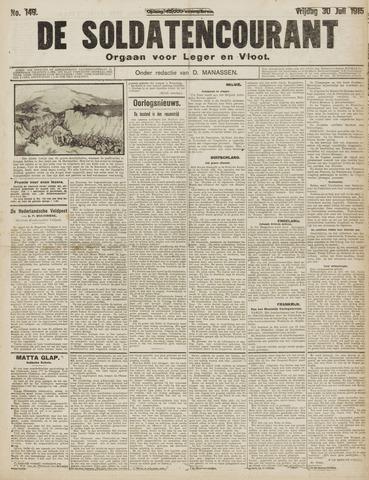 De Soldatencourant. Orgaan voor Leger en Vloot 1915-07-30