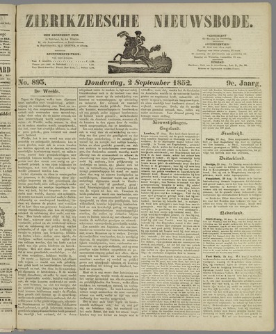 Zierikzeesche Nieuwsbode 1852-09-02