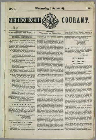 Zierikzeesche Courant 1849