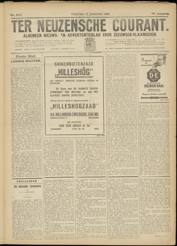Ter Neuzensche Courant. Algemeen Nieuws- en Advertentieblad voor Zeeuwsch-Vlaanderen / Neuzensche Courant ... (idem) / (Algemeen) nieuws en advertentieblad voor Zeeuwsch-Vlaanderen 1930-01-17