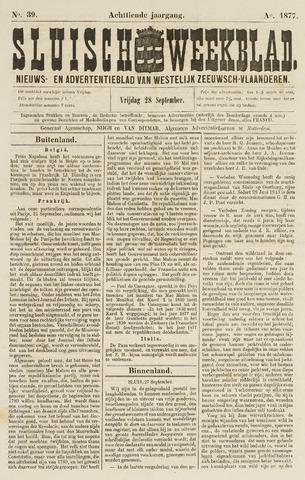 Sluisch Weekblad. Nieuws- en advertentieblad voor Westelijk Zeeuwsch-Vlaanderen 1877-09-28