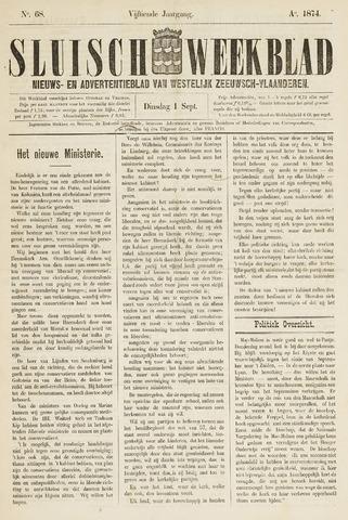 Sluisch Weekblad. Nieuws- en advertentieblad voor Westelijk Zeeuwsch-Vlaanderen 1874-09-01