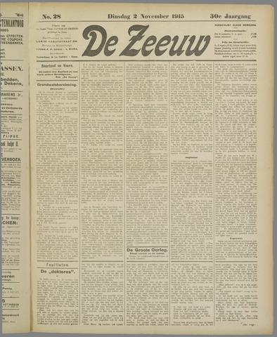 De Zeeuw. Christelijk-historisch nieuwsblad voor Zeeland 1915-11-02