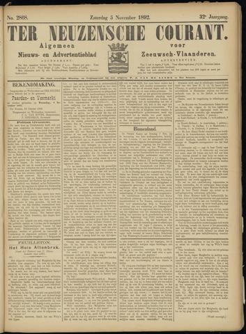 Ter Neuzensche Courant. Algemeen Nieuws- en Advertentieblad voor Zeeuwsch-Vlaanderen / Neuzensche Courant ... (idem) / (Algemeen) nieuws en advertentieblad voor Zeeuwsch-Vlaanderen 1892-11-05