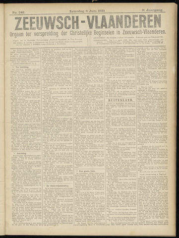 Luctor et Emergo. Antirevolutionair nieuws- en advertentieblad voor Zeeland / Zeeuwsch-Vlaanderen. Orgaan ter verspreiding van de christelijke beginselen in Zeeuwsch-Vlaanderen 1920-06-05