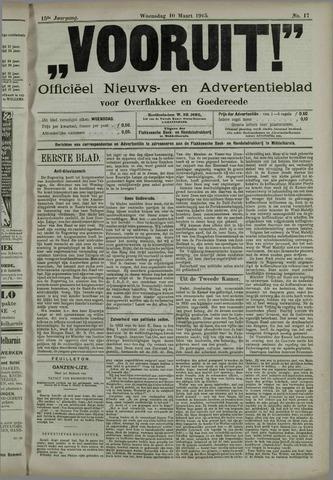 """""""Vooruit!""""Officieel Nieuws- en Advertentieblad voor Overflakkee en Goedereede 1915-03-10"""