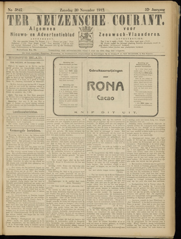 Ter Neuzensche Courant. Algemeen Nieuws- en Advertentieblad voor Zeeuwsch-Vlaanderen / Neuzensche Courant ... (idem) / (Algemeen) nieuws en advertentieblad voor Zeeuwsch-Vlaanderen 1912-11-30