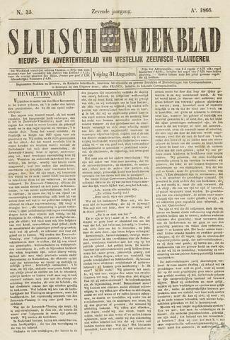 Sluisch Weekblad. Nieuws- en advertentieblad voor Westelijk Zeeuwsch-Vlaanderen 1866-08-31