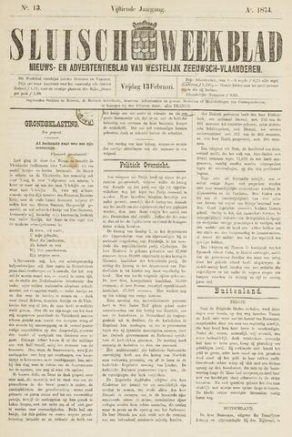 Sluisch Weekblad. Nieuws- en advertentieblad voor Westelijk Zeeuwsch-Vlaanderen 1874-02-13