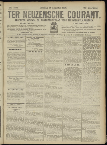 Ter Neuzensche Courant. Algemeen Nieuws- en Advertentieblad voor Zeeuwsch-Vlaanderen / Neuzensche Courant ... (idem) / (Algemeen) nieuws en advertentieblad voor Zeeuwsch-Vlaanderen 1920-08-24