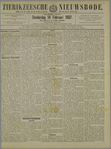 Zierikzeesche Nieuwsbode 1907-02-14