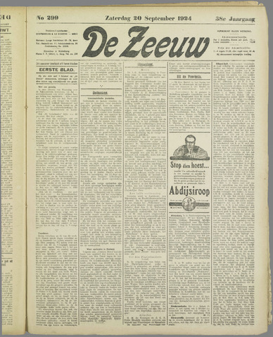 De Zeeuw. Christelijk-historisch nieuwsblad voor Zeeland 1924-09-20