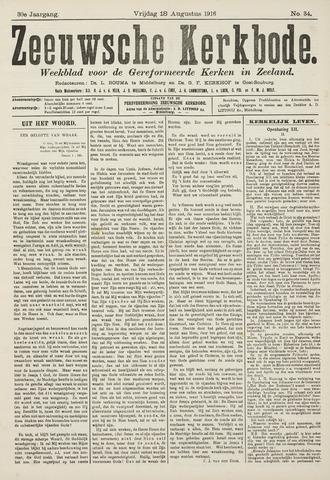 Zeeuwsche kerkbode, weekblad gewijd aan de belangen der gereformeerde kerken/ Zeeuwsch kerkblad 1916-08-18