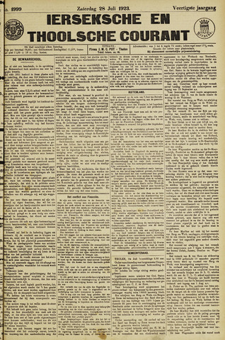 Ierseksche en Thoolsche Courant 1923-07-28
