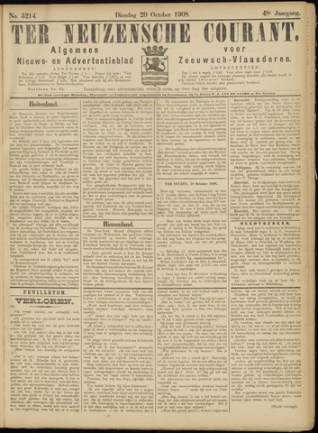 Ter Neuzensche Courant. Algemeen Nieuws- en Advertentieblad voor Zeeuwsch-Vlaanderen / Neuzensche Courant ... (idem) / (Algemeen) nieuws en advertentieblad voor Zeeuwsch-Vlaanderen 1908-10-20