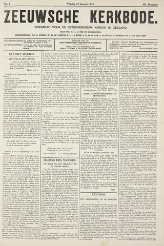 Zeeuwsche kerkbode, weekblad gewijd aan de belangen der gereformeerde kerken/ Zeeuwsch kerkblad 1934-01-12