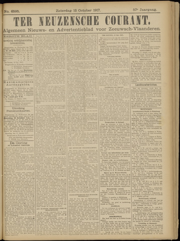 Ter Neuzensche Courant. Algemeen Nieuws- en Advertentieblad voor Zeeuwsch-Vlaanderen / Neuzensche Courant ... (idem) / (Algemeen) nieuws en advertentieblad voor Zeeuwsch-Vlaanderen 1917-10-13